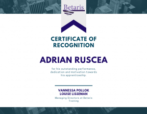 Certificate of Recognition at Betaris